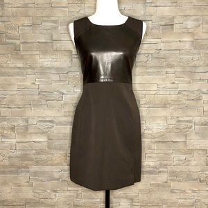 Absolu Confort brown dress, leather front panel